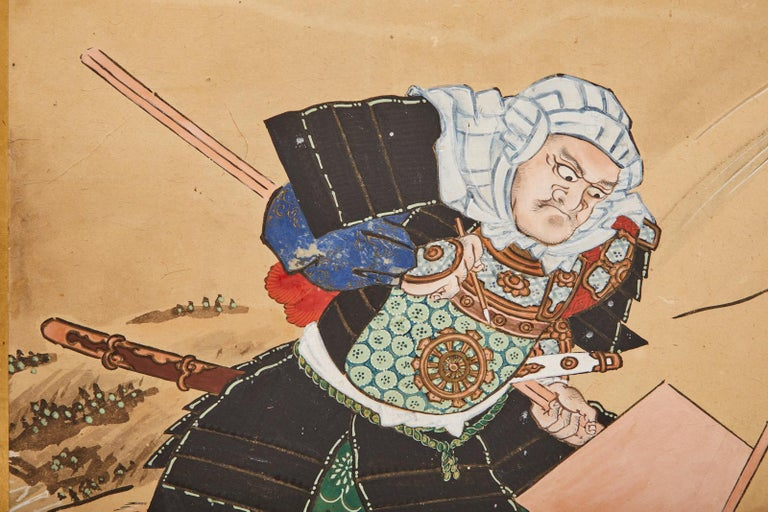 Japanese Edo Six Panel Screen Yoshitsune and Benkei For Sale 12
