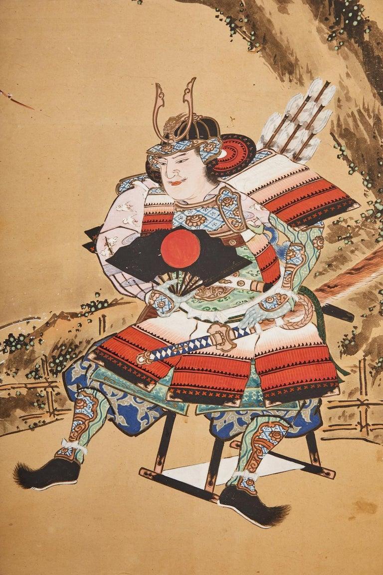 Japanese Edo Six Panel Screen Yoshitsune and Benkei For Sale 13