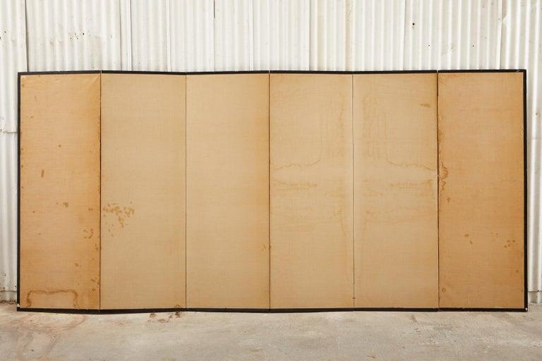 Japanese Edo Six Panel Screen Yoshitsune and Benkei For Sale 14