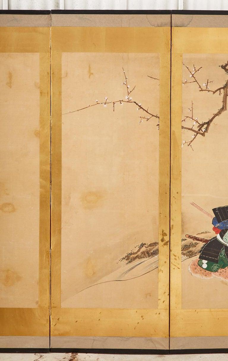 Japanese Edo Six Panel Screen Yoshitsune and Benkei In Fair Condition For Sale In Rio Vista, CA