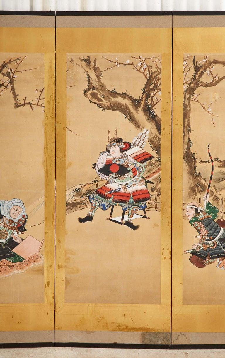 19th Century Japanese Edo Six Panel Screen Yoshitsune and Benkei For Sale