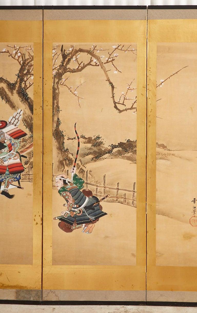 Wood Japanese Edo Six Panel Screen Yoshitsune and Benkei For Sale