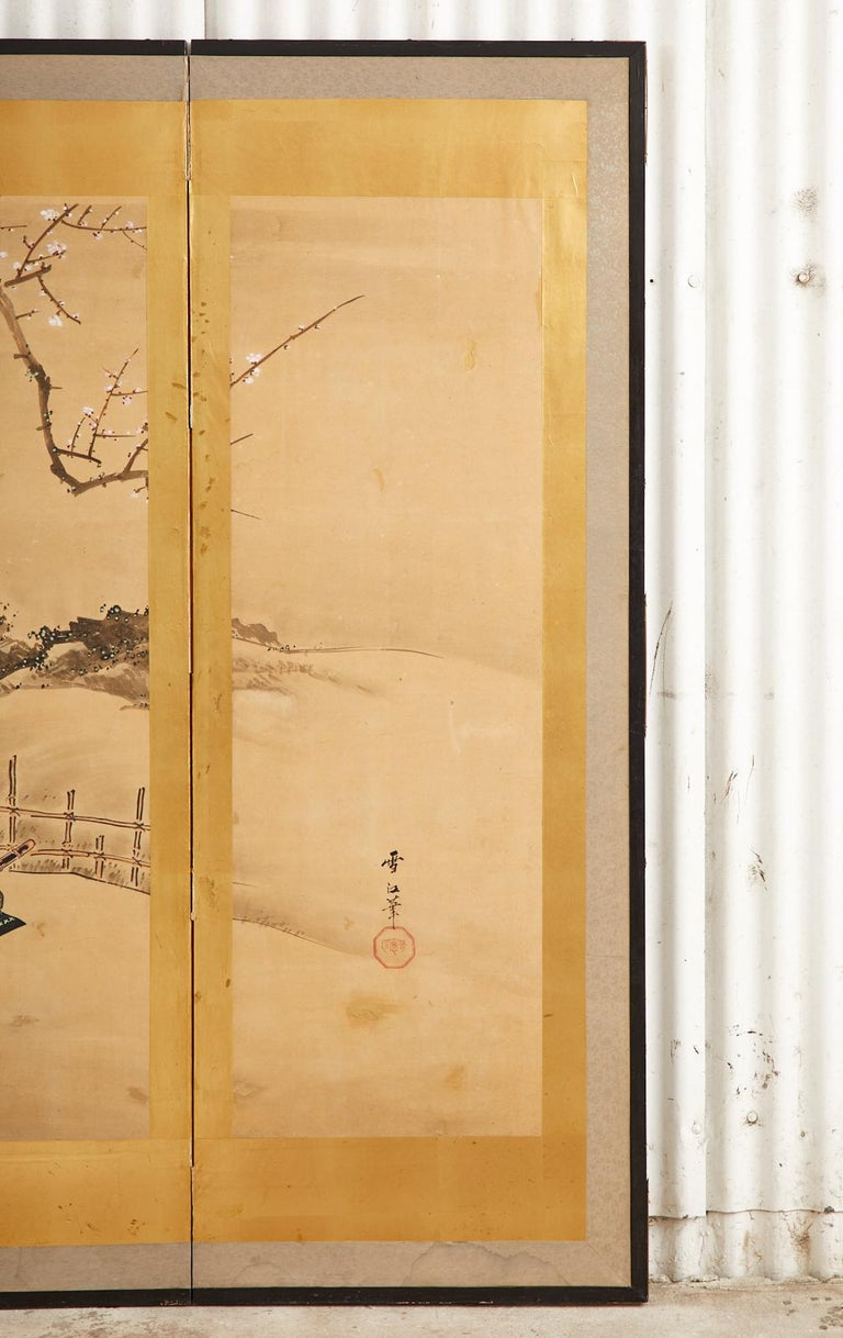 Japanese Edo Six Panel Screen Yoshitsune and Benkei For Sale 1