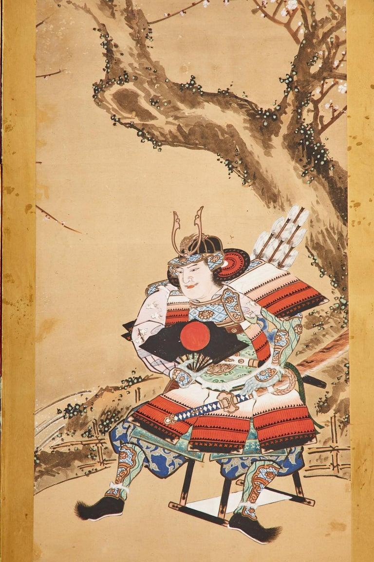 Japanese Edo Six Panel Screen Yoshitsune and Benkei For Sale 2
