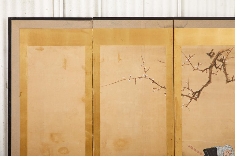 Japanese Edo Six Panel Screen Yoshitsune and Benkei For Sale 3