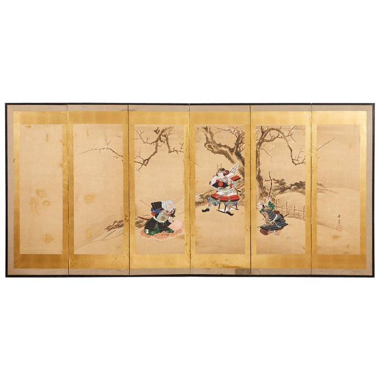 Japanese Edo Six Panel Screen Yoshitsune and Benkei For Sale
