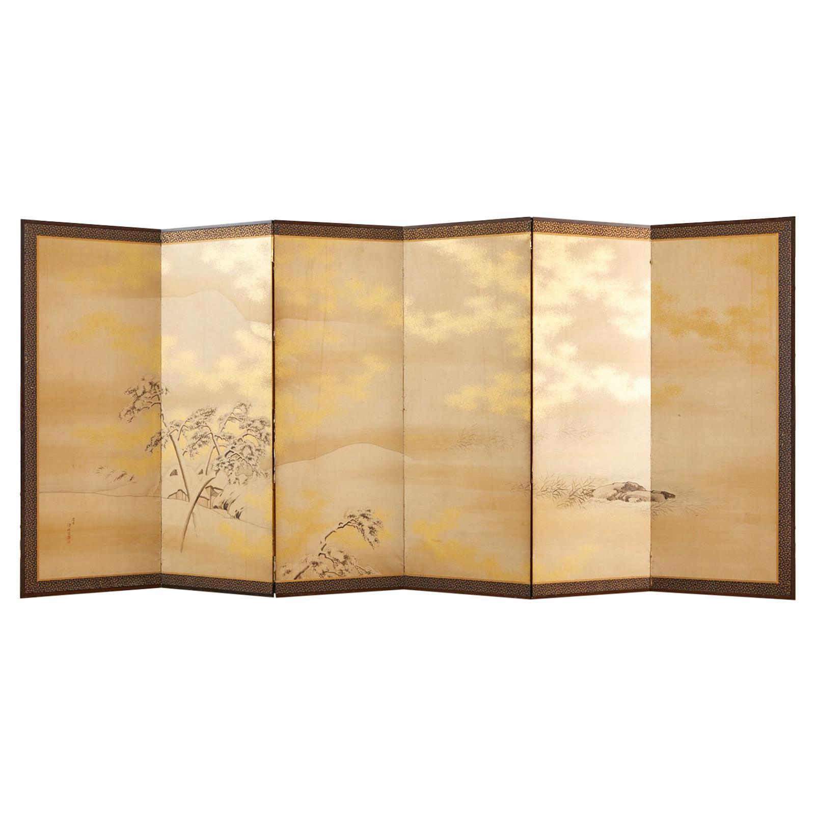 Japanese Edo Six Panel Shijo Screen Snowy Winter Landscape