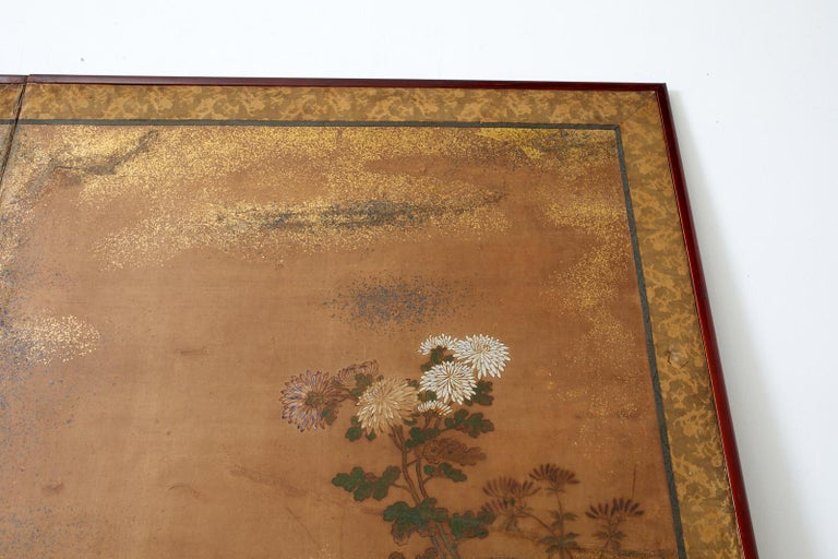 Japanese Edo Two-Panel Screen Flowers of Autumn For Sale 4