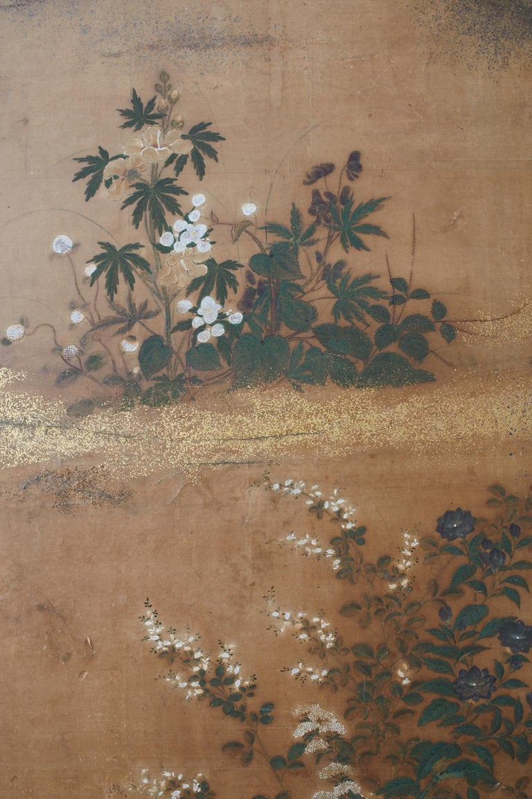 Japanese Edo Two-Panel Screen Flowers of Autumn For Sale 5