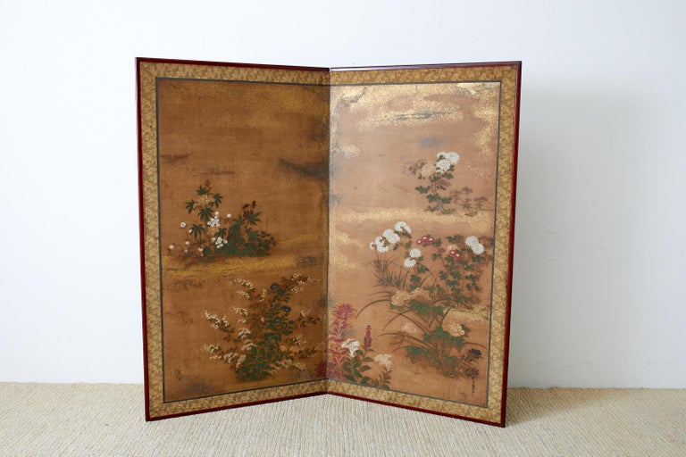 Japanese Edo Two-Panel Screen Flowers of Autumn For Sale 9