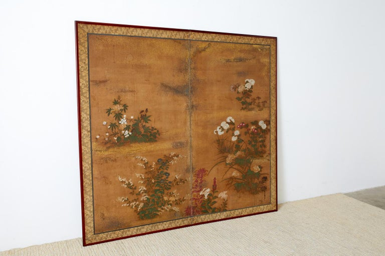 Hand-Crafted Japanese Edo Two-Panel Screen Flowers of Autumn For Sale