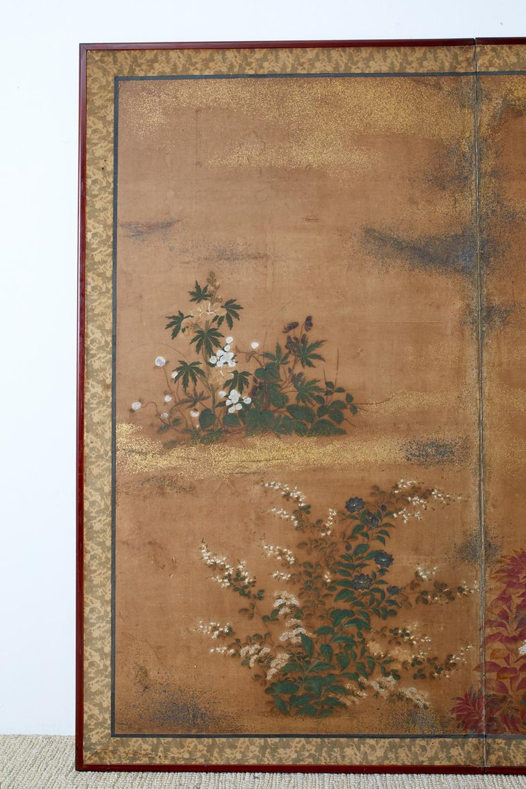 Japanese Edo Two-Panel Screen Flowers of Autumn In Fair Condition For Sale In Rio Vista, CA