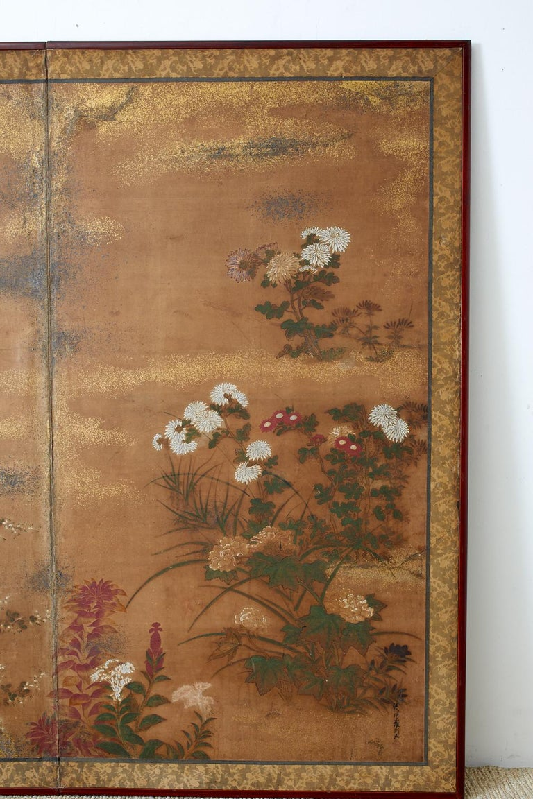 19th Century Japanese Edo Two-Panel Screen Flowers of Autumn For Sale