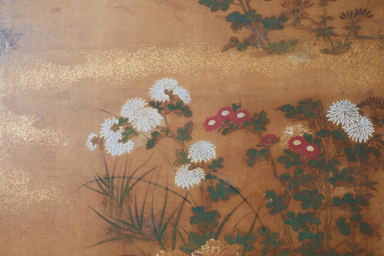 Silk Japanese Edo Two-Panel Screen Flowers of Autumn For Sale