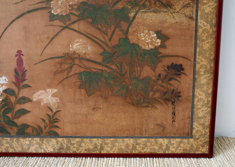 Japanese Edo Two-Panel Screen Flowers of Autumn For Sale 1