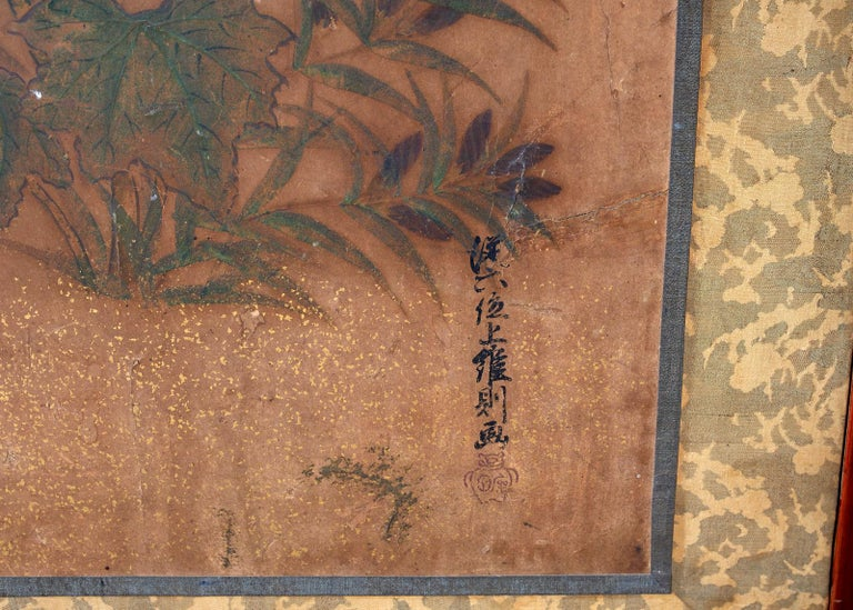 Japanese Edo Two-Panel Screen Flowers of Autumn For Sale 2