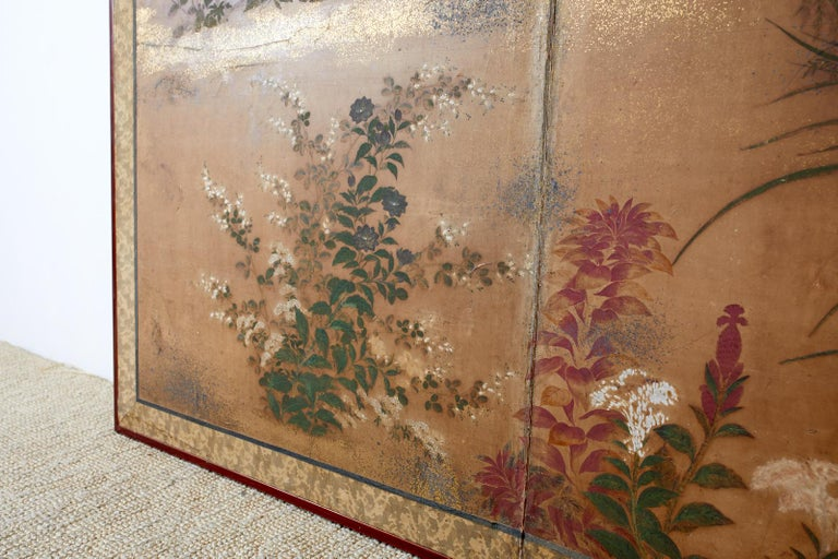 Japanese Edo Two-Panel Screen Flowers of Autumn For Sale 3