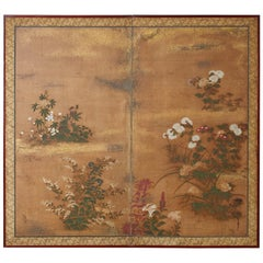 Japanese Edo Two-Panel Screen Flowers of Autumn