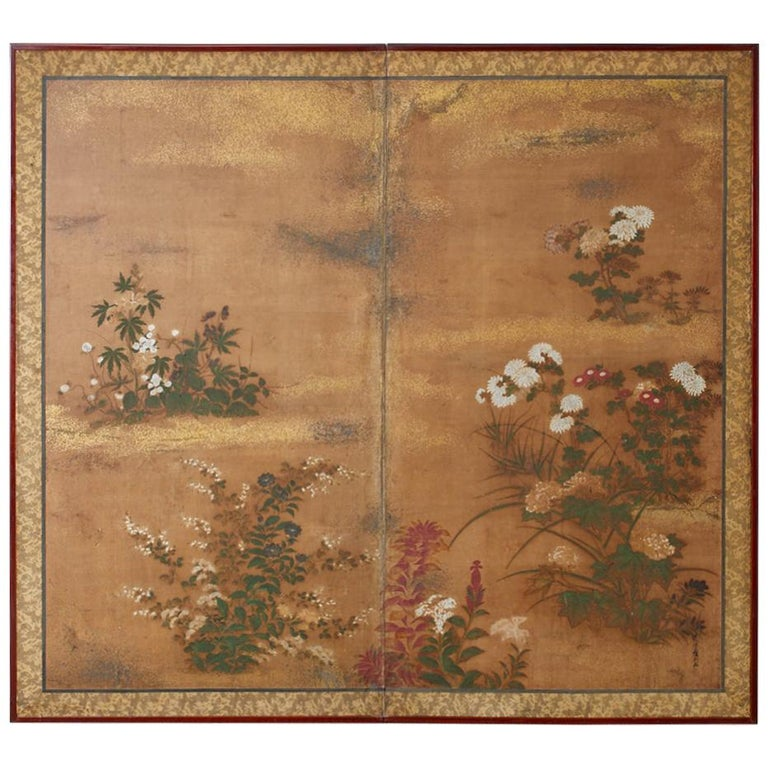 Japanese Edo Two-Panel Screen Flowers of Autumn For Sale