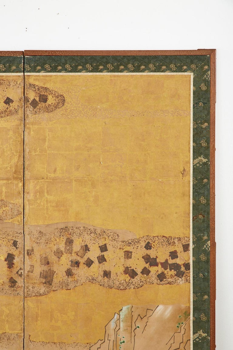Japanese Edo Two-Panel Screen Small Boats on Riverbank For Sale 4