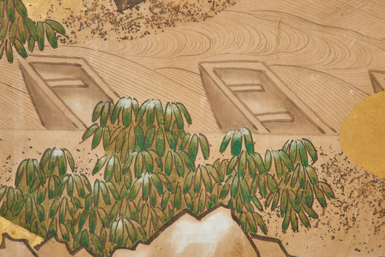 Japanese Edo Two-Panel Screen Small Boats on Riverbank For Sale 7