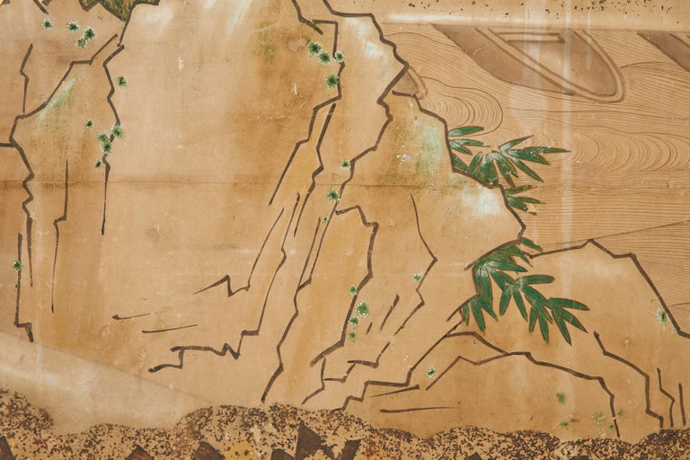 Japanese Edo Two-Panel Screen Small Boats on Riverbank For Sale 8