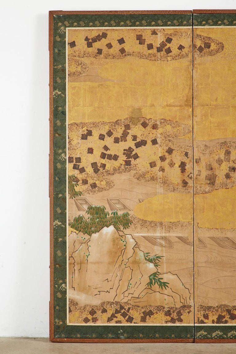 Japanese Edo Two-Panel Screen Small Boats on Riverbank In Good Condition For Sale In Rio Vista, CA