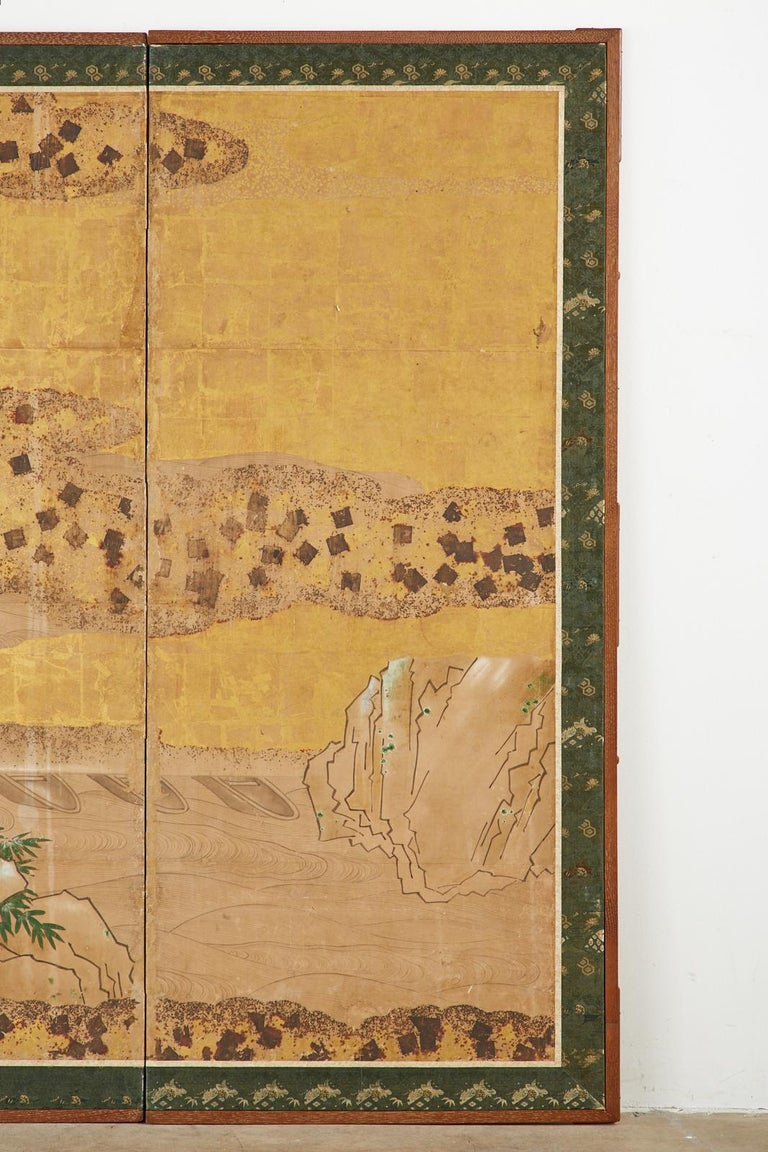 19th Century Japanese Edo Two-Panel Screen Small Boats on Riverbank For Sale