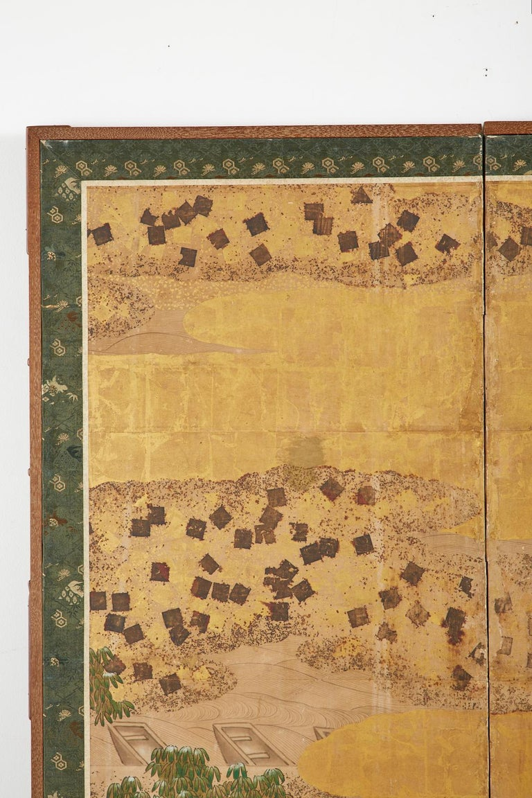 Japanese Edo Two-Panel Screen Small Boats on Riverbank For Sale 1