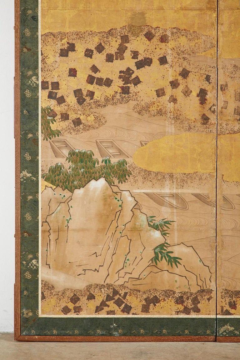 Japanese Edo Two-Panel Screen Small Boats on Riverbank For Sale 2