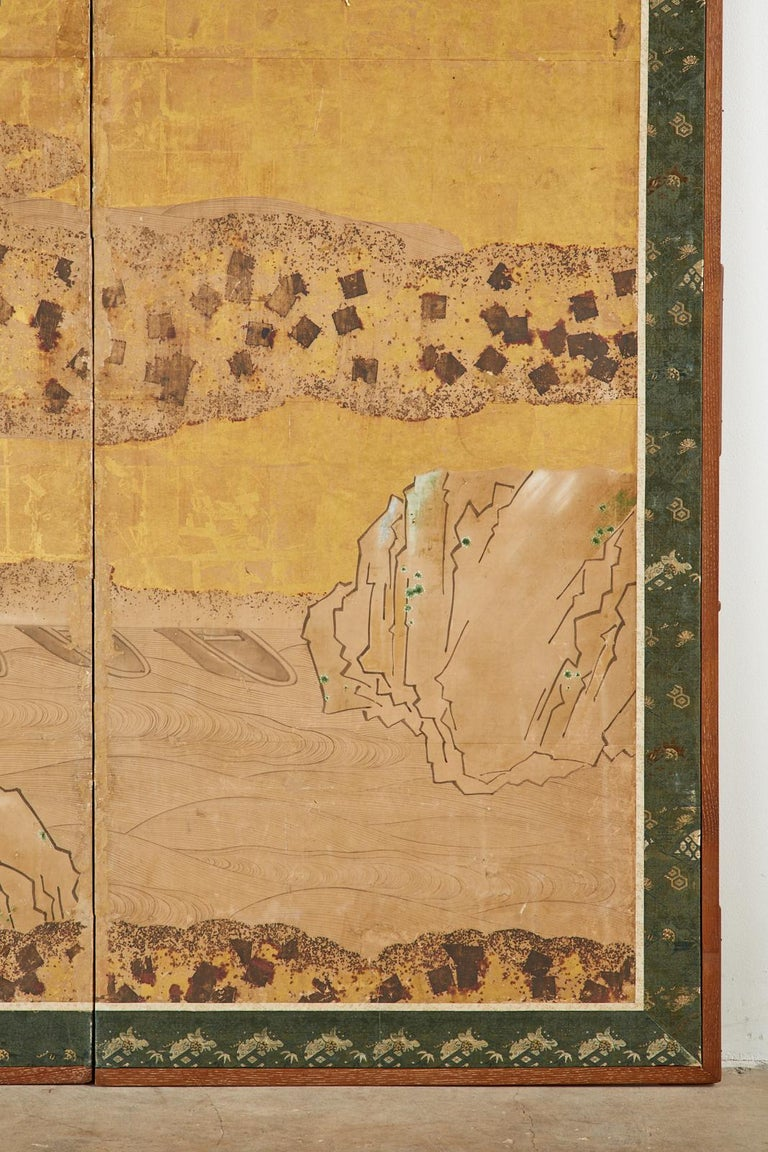 Japanese Edo Two-Panel Screen Small Boats on Riverbank For Sale 3