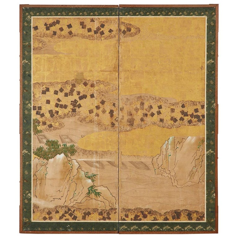 Japanese Edo Two-Panel Screen Small Boats on Riverbank For Sale