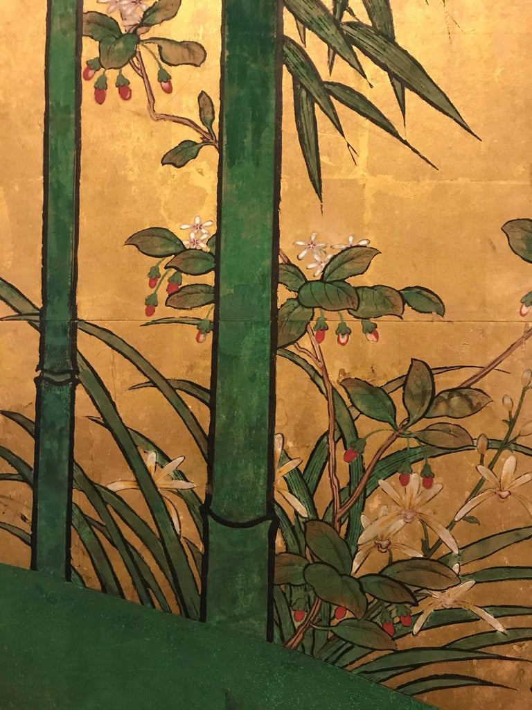 Japanese Eight Fold Screen with Bamboo For Sale 4