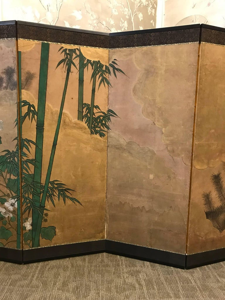 Hand-Painted Japanese Eight Fold Screen with Bamboo For Sale