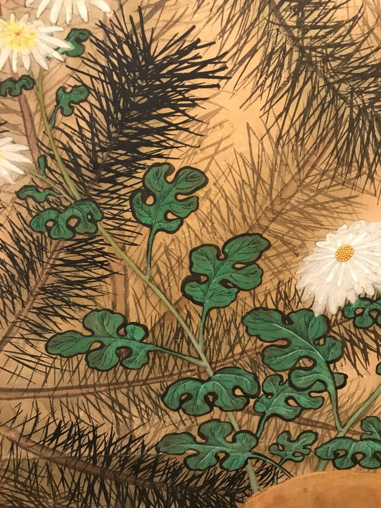 19th Century Japanese Eight Fold Screen with Bamboo For Sale