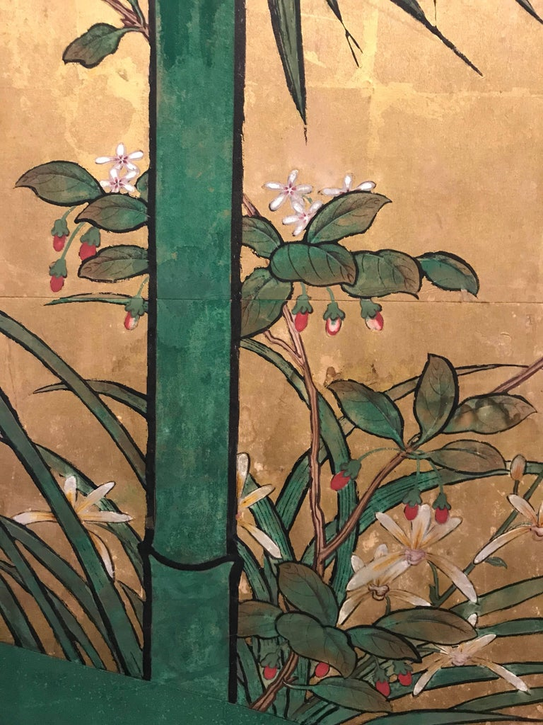 Gold Leaf Japanese Eight Fold Screen with Bamboo For Sale