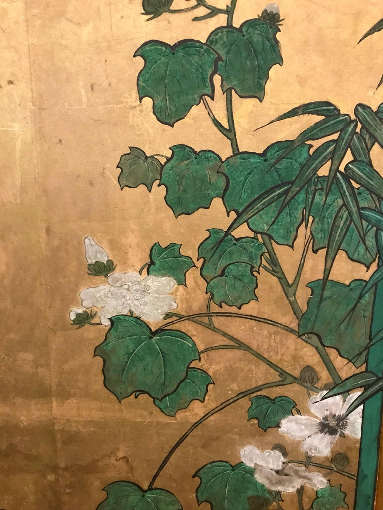 Japanese Eight Fold Screen with Bamboo For Sale 1
