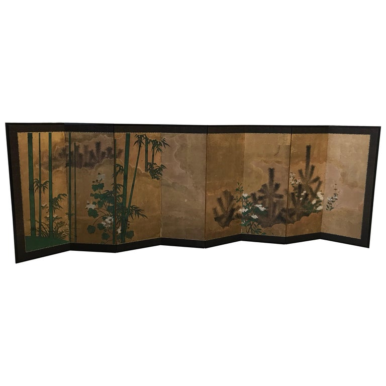 Japanese Eight Fold Screen with Bamboo For Sale