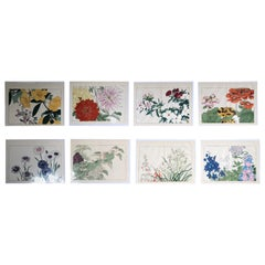 Japanese Eight Old Woodblock Flower Prints, Full Colors, Immediately Frameable#1