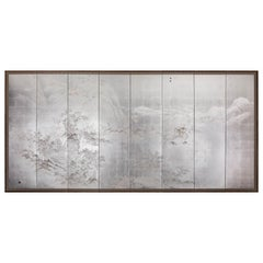Japanese Eight Panel Screen, Modern Chinese School Coastal Mountain Landscape