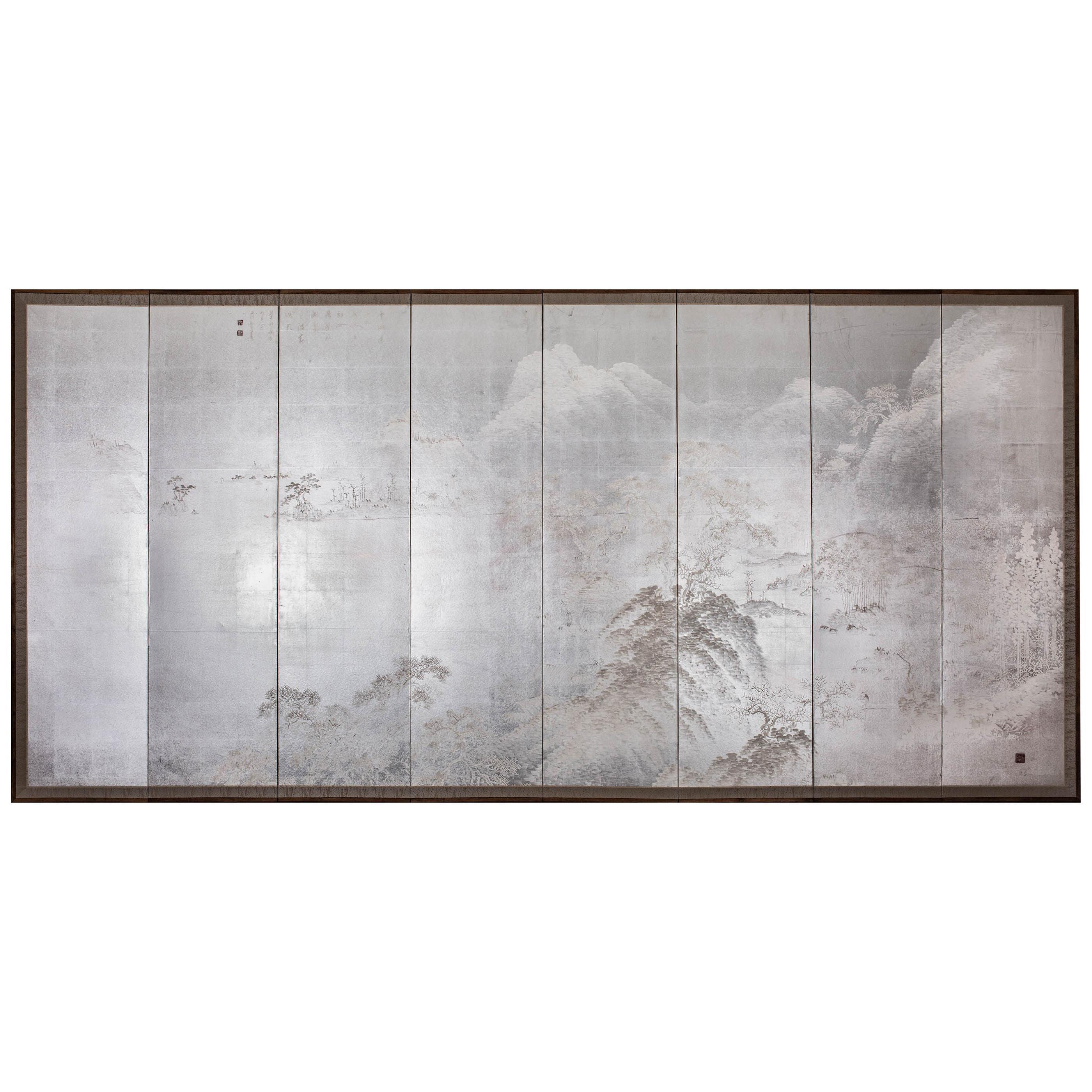 Japanese Eight Panel Screen: Modern Chinese School Coastal Mountain Landscape