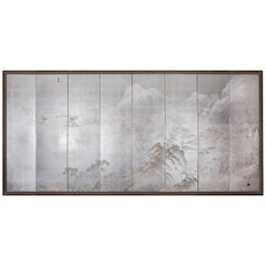 Japanese Eight Panel Screen: Modern Chinese School Coastal Mountain Landscape