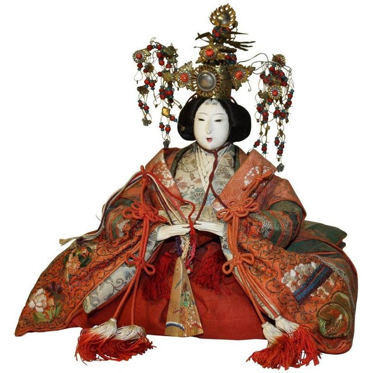 Japanese Emperor and Empress Dolls, Meiji Period For Sale 5
