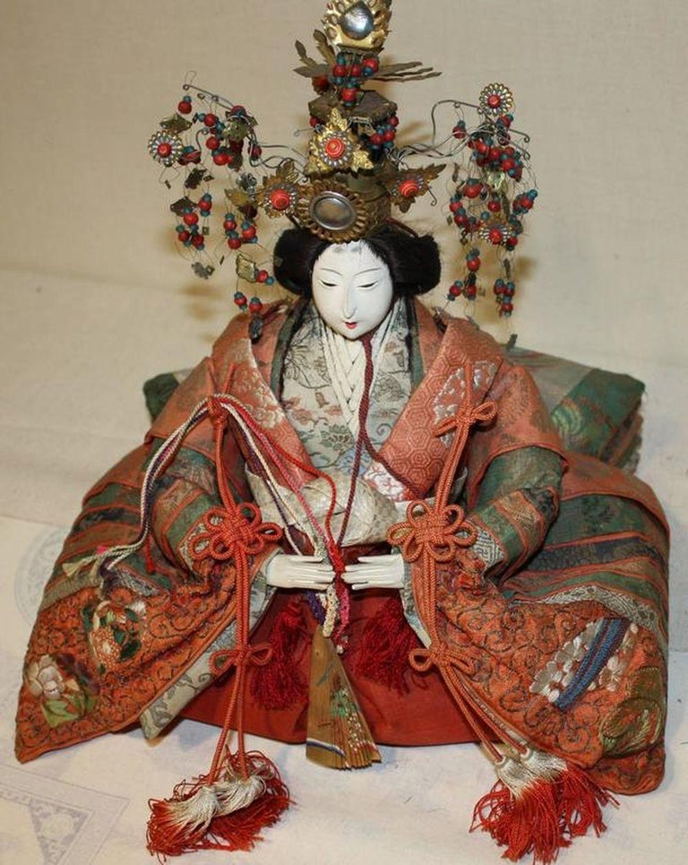 Japanese Emperor and Empress Dolls, Meiji Period For Sale 6