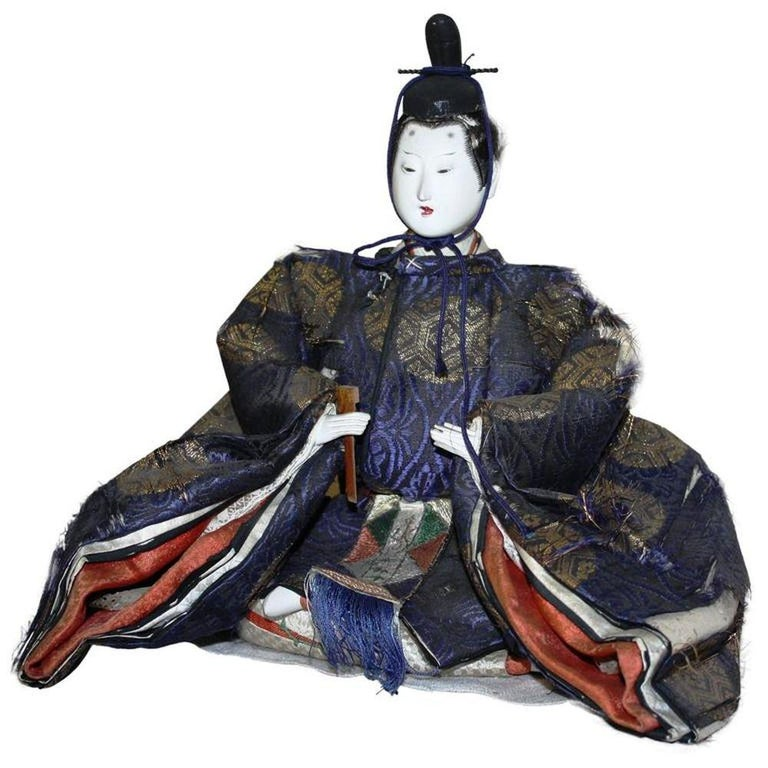 Japanese Emperor and Empress Dolls, Meiji Period In Fair Condition For Sale In Doylestown, PA