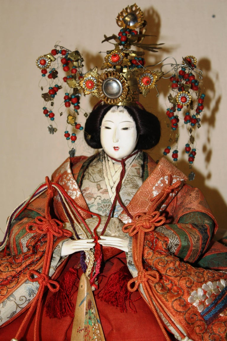 19th Century Japanese Emperor and Empress Dolls, Meiji Period For Sale