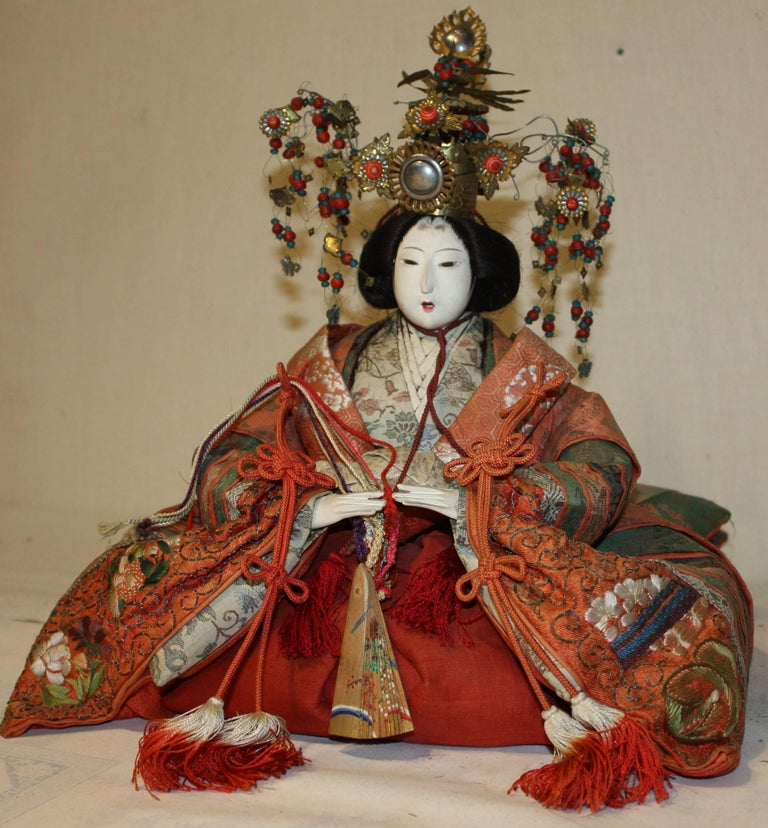 Japanese Emperor and Empress Dolls, Meiji Period For Sale 4