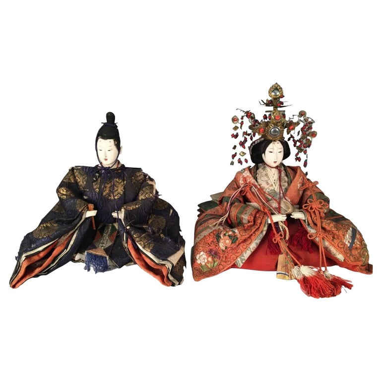 Japanese Emperor and Empress Dolls, Meiji Period For Sale