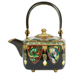 Japanese Exceptional Gilded Metal Cloisonné Teapot, Early 20th Century