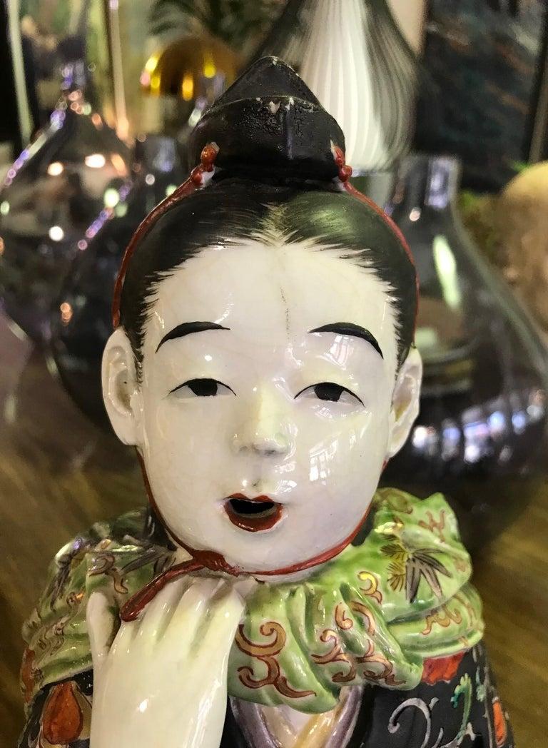 Japanese Exquisite Large Kutani Ware Porcelain Figure of Boy Late 1800s Meiji 9